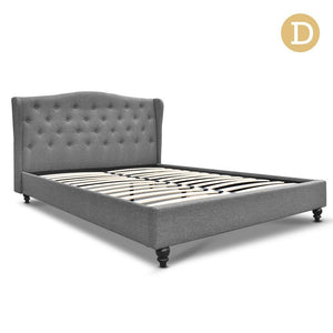 Double Size Wooden Upholstered Bed Frame - Grey - Factory To Home - Furniture