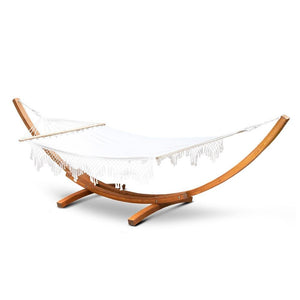 Double Tassel Hammock with Wooden Hammock Stand - Factory To Home - Home & Garden