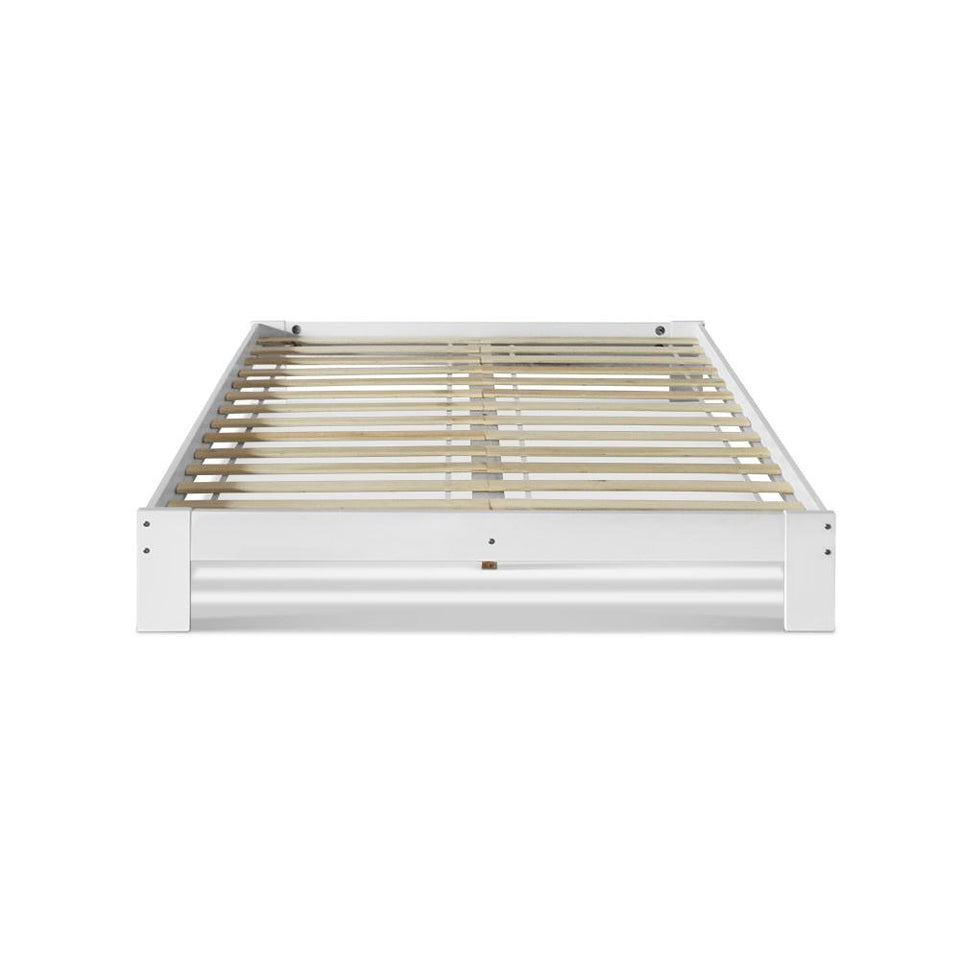 Double Wooden Bed Frame Base - White - Factory To Home - Furniture