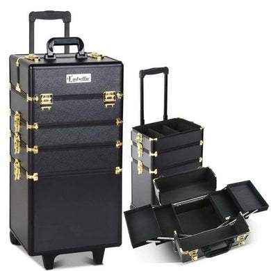 Embellir 7 in 1 Portable Cosmetic Beauty Makeup Trolley - Black & Gold - Factory To Home - Health & Beauty