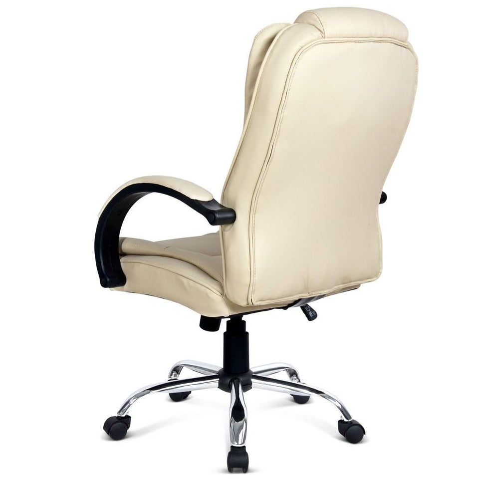 Executive PU Leather Office Desk Computer Chair - Beige - Factory To Home - Furniture