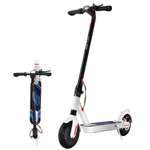 Foldable Compact Electric Scooter With LED Light - White - Factory To Home - Sports & Fitness