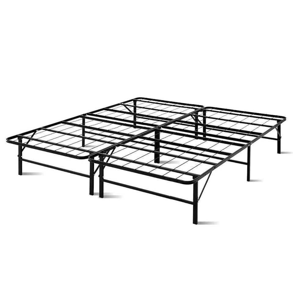 Foldable King Metal Bed Frame - Black - Factory To Home - Furniture
