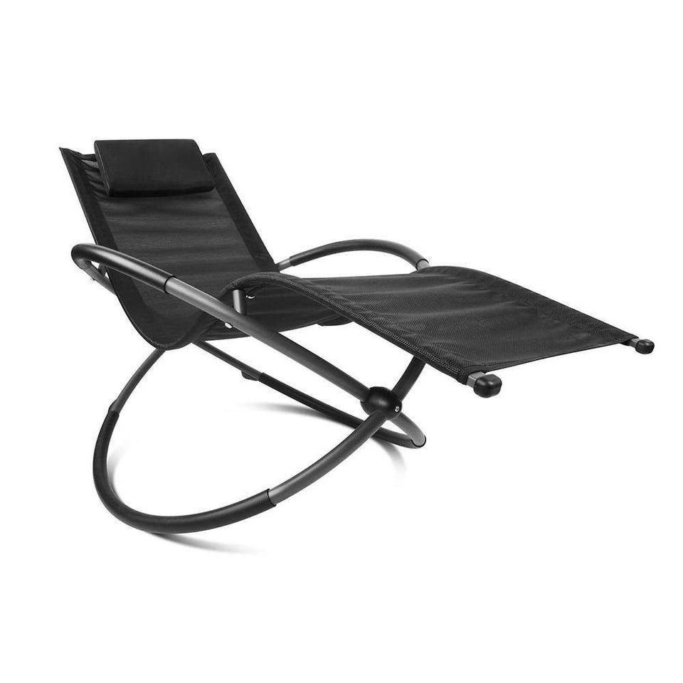 Foldable Orbital Rocking Chair - Black - Factory To Home - Furniture