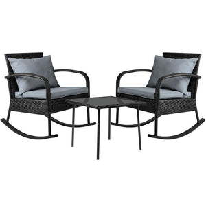 Gardeon 3 Piece Outdoor Chair Rocking Set - Black - Factory To Home - Furniture
