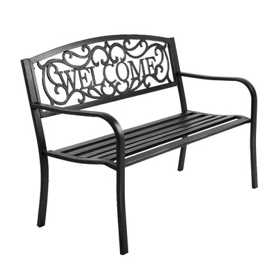 Gardeon Cast Iron Welcome Garden Bench - Black - Factory To Home - Home & Garden