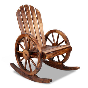Gardeon Wagon Wheels Rocking Chair - Brown - Factory To Home - Furniture