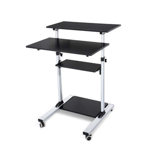 Height Adjustable Mobile Work Station Standing Laptop Desk Bedside Table - Factory To Home - Furniture