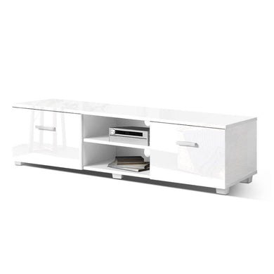 High Gloss Entertainment Unit - 140cm White - Factory To Home - Furniture