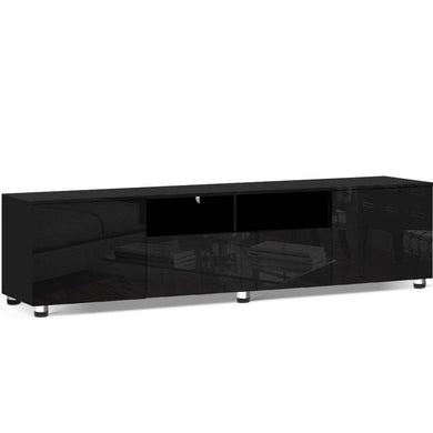 High Gloss Entertainment Unit - 205cm Black - Factory To Home - Furniture