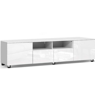 High Gloss Entertainment Unit - 205cm White - Factory To Home - Furniture