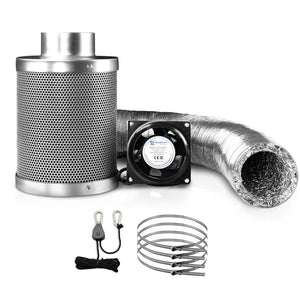 Hydroponics Grow Tent Ventilation Kit Vent Fan Carbon Filter Duct Ducting 4 inch - Factory To Home - Home & Garden