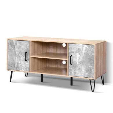 Industrial Wooden Entertainment Unit - Metal Legs - Oak - Factory To Home - Furniture