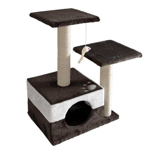 i.Pet 70cm Cat Scratching Tree Gym Post - White and Dark Grey - Factory To Home - Pet Care