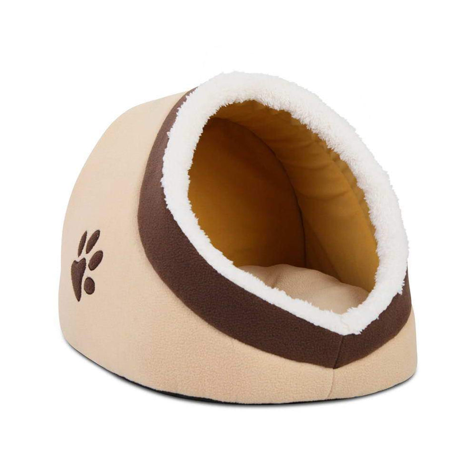 i.Pet Soft Fleece Igloo Pet Bed - Beige - Factory To Home - Pet Care