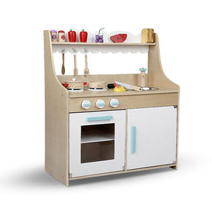Kids Wooden Kitchen Play Set - Natural & White - Factory To Home - Baby & Kids