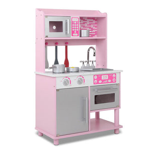 Kids Wooden Kitchen Play Set - Pink & Silver - Factory To Home - Baby & Kids