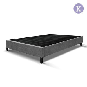 King Size Bed Base Frame Pine Wood Slats - Grey - Factory To Home - Furniture