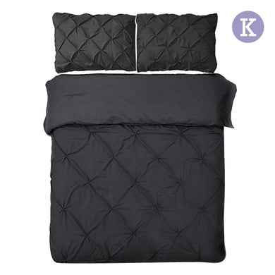 King Size Quilt Cover Set - Black - Factory To Home - Home & Garden