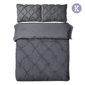 King Size Quilt Cover Set - Charcoal - Factory To Home - Home & Garden