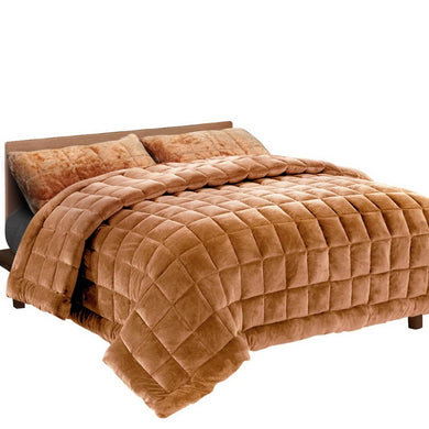 Latte Faux Mink Quilt - Super King - Factory To Home - Home & Garden