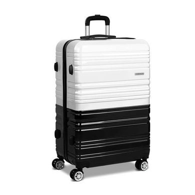 Lightweight Hard Suit Case - Black & White - Factory To Home - Home & Garden