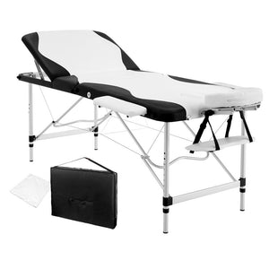 Livemor 3 Fold Portable Aluminium Massage Table - Black & White - Factory To Home - Health & Beauty