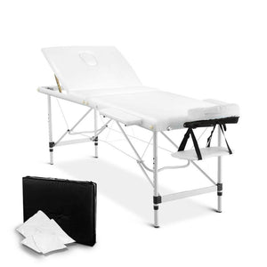 Livemor 3 Fold Portable Aluminium Massage Table - White - Factory To Home - Health & Beauty