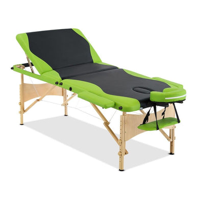 Livemor 3 Fold Portable Wood Massage Table - Black & Lime - Factory To Home - Health & Beauty