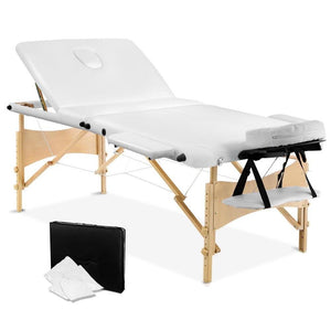 Livemor 3 Fold Portable Wood Massage Table - White - Factory To Home - Health & Beauty