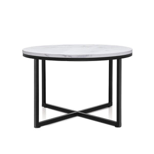 Marble Effect Coffee Table - Black Metal - Factory To Home - Furniture