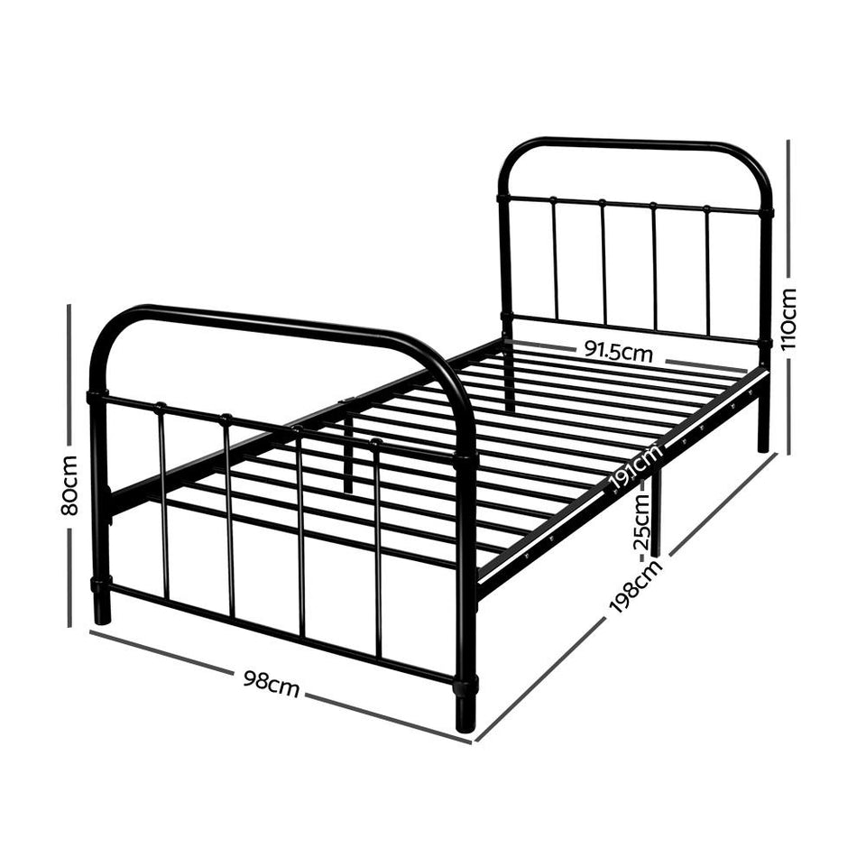 Metal Single Bed Frame - Black - Factory To Home - Furniture