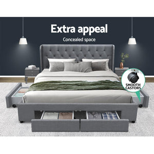 Mila - King Size Bed Frame With Storage Drawer Grey - Factory To Home - Furniture
