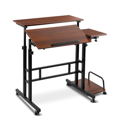Mobile Twin Laptop Desk - Dark Wood - Factory To Home - Furniture