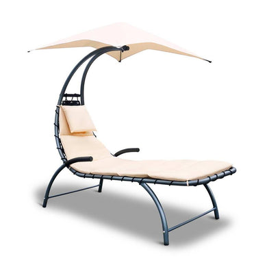 Outdoor Lounge Chair with Shade - Beige - Factory To Home - Furniture