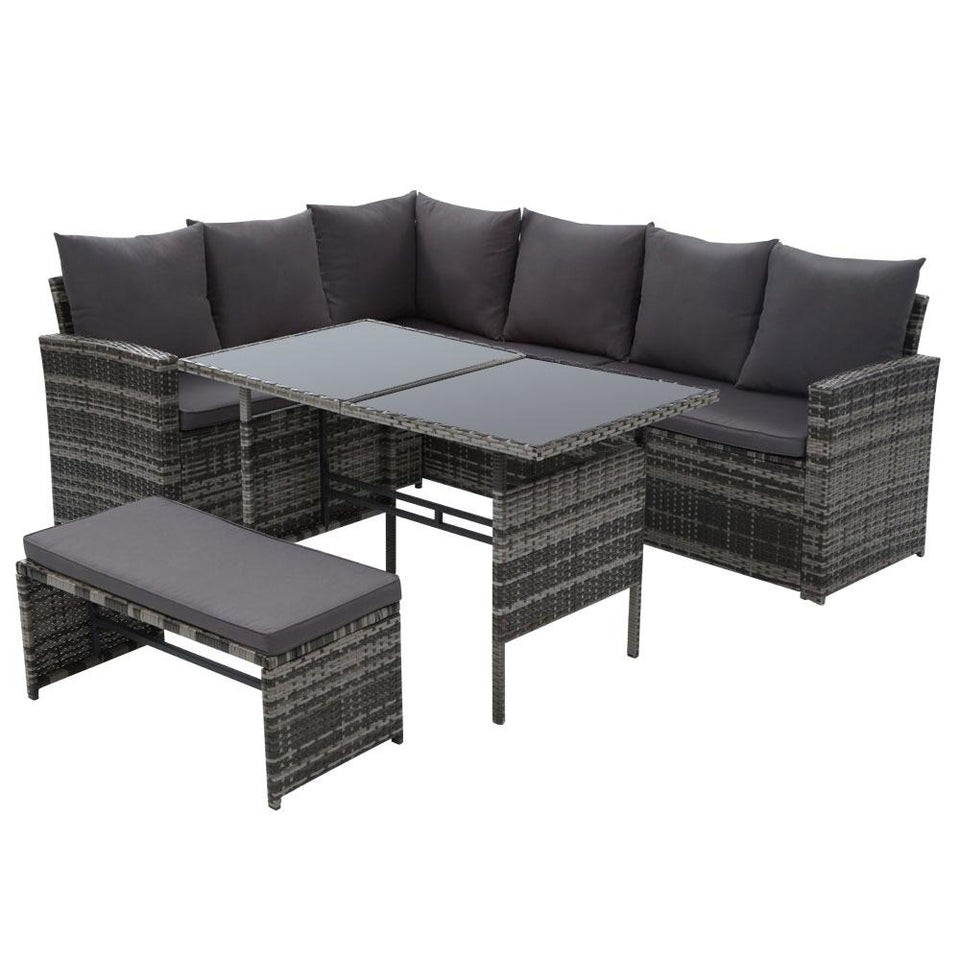 Outdoor Sofa Set 8 Seater - Mixed Grey - Factory To Home - Home & Garden