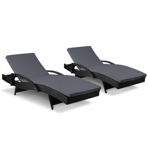 Outdoor Sun Lounge Chairs with Cushion - Black - Factory To Home - Furniture