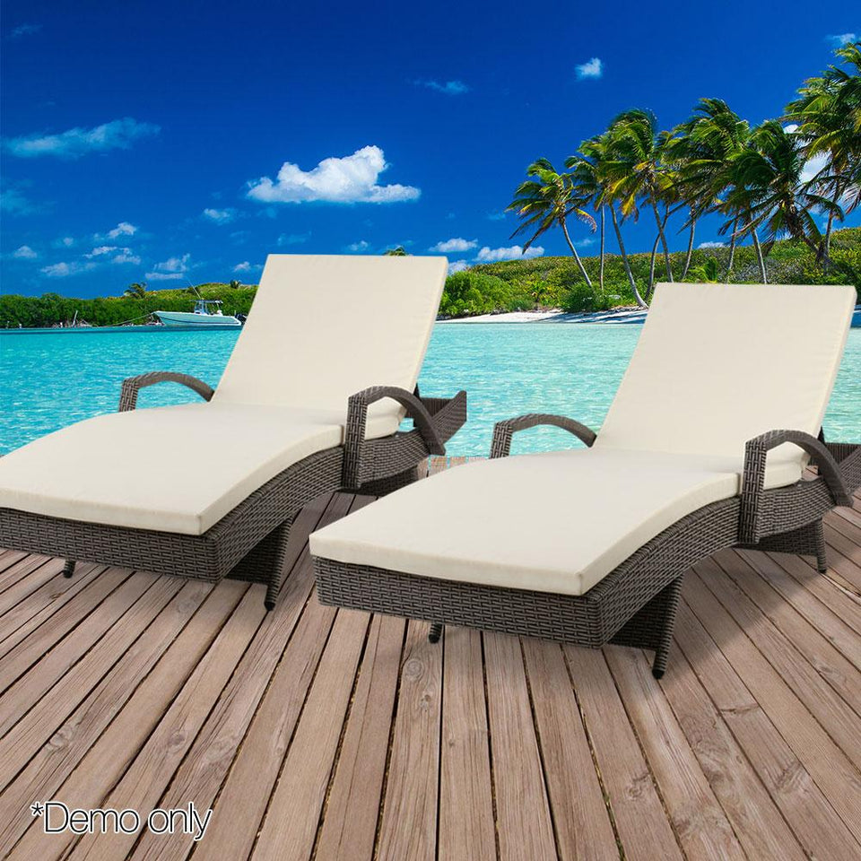 Outdoor Sun Lounge Chairs with Cushion- Grey - Factory To Home - Furniture