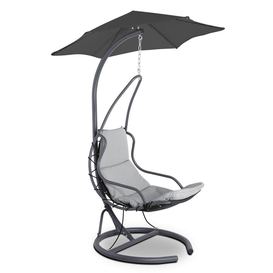 Outdoor Swing Hammock Chair w/ Cushion - Grey - Factory To Home - Furniture