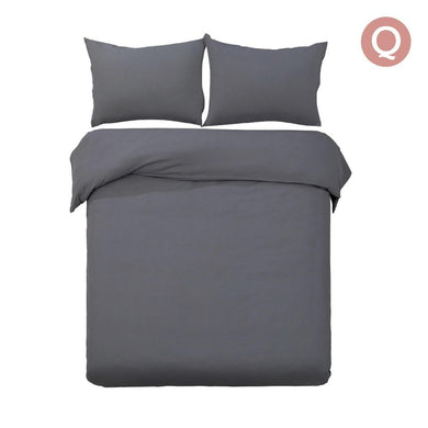 Queen Size Classic Quilt Cover Set - Charcoal - Factory To Home - Home & Garden