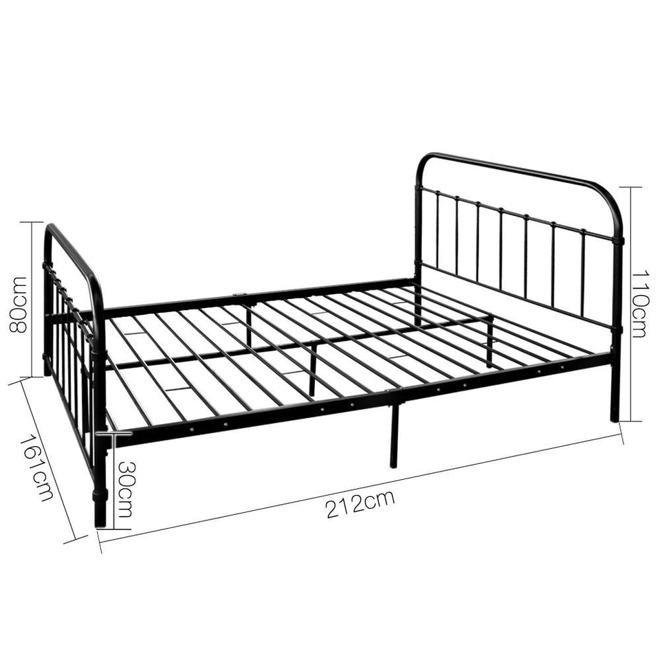 Queen Size Metal Bed Frame - Black - Factory To Home - Furniture