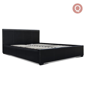 Queen Size PU Leather and Wood Bed Frame - Black - Factory To Home - Furniture