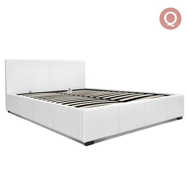 Queen Size PU Leather and Wood Bed Frame -White - Factory To Home - Furniture