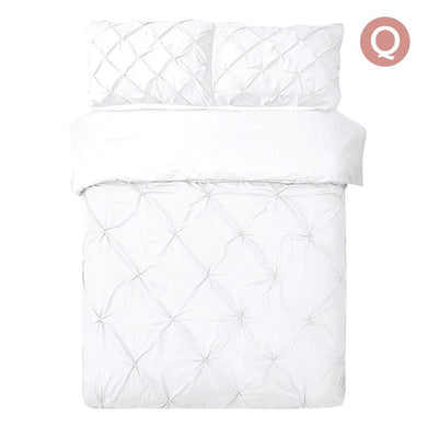 Queen Size Quilt Cover Set - White - Factory To Home - Home & Garden