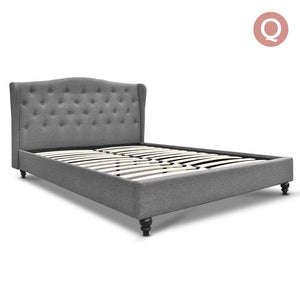 Queen Size Wooden Upholstered Bed Frame - Grey - Factory To Home - Furniture