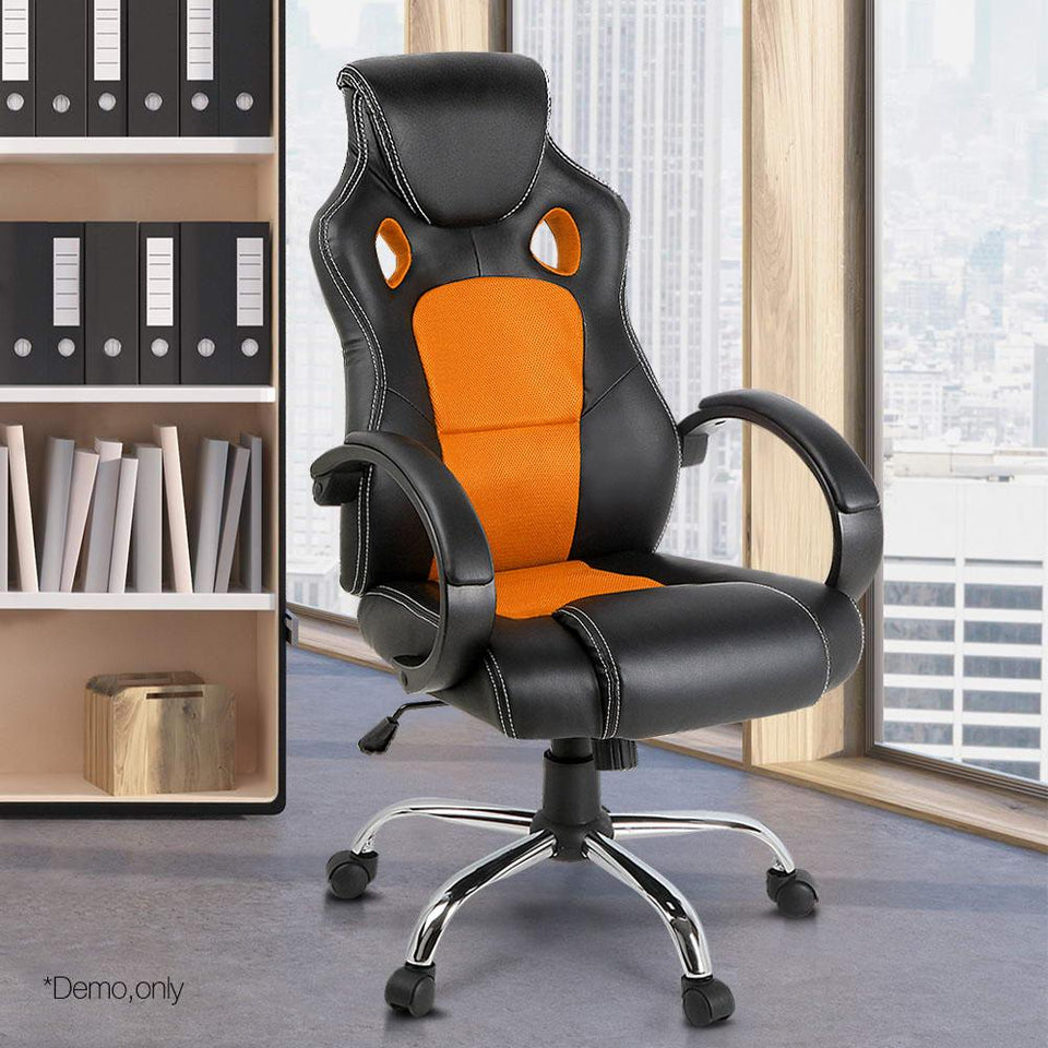 Racing Style PU Leather Office Desk Chair - Orange - Factory To Home - Furniture
