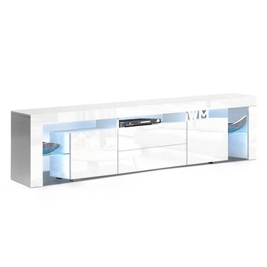 RGB LED Gloss Entertainment Unit - 200cm - White - Factory To Home - Furniture