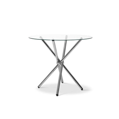 Round Dining Table with Tempered Glass - Silver - Factory To Home - Furniture