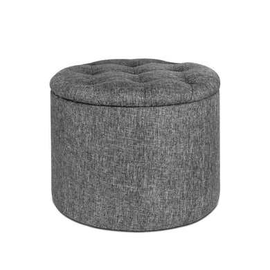 Round Fabric Storage Ottoman - Grey - Factory To Home - Furniture