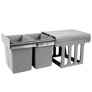 Set of 2 15L Twin Pull Out Bins - Grey - Factory To Home - Home & Garden